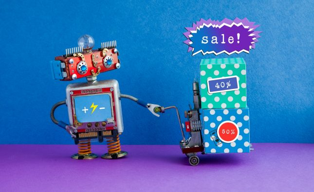 Comical robot moving shopping cart boxes with discount advertising stickers
