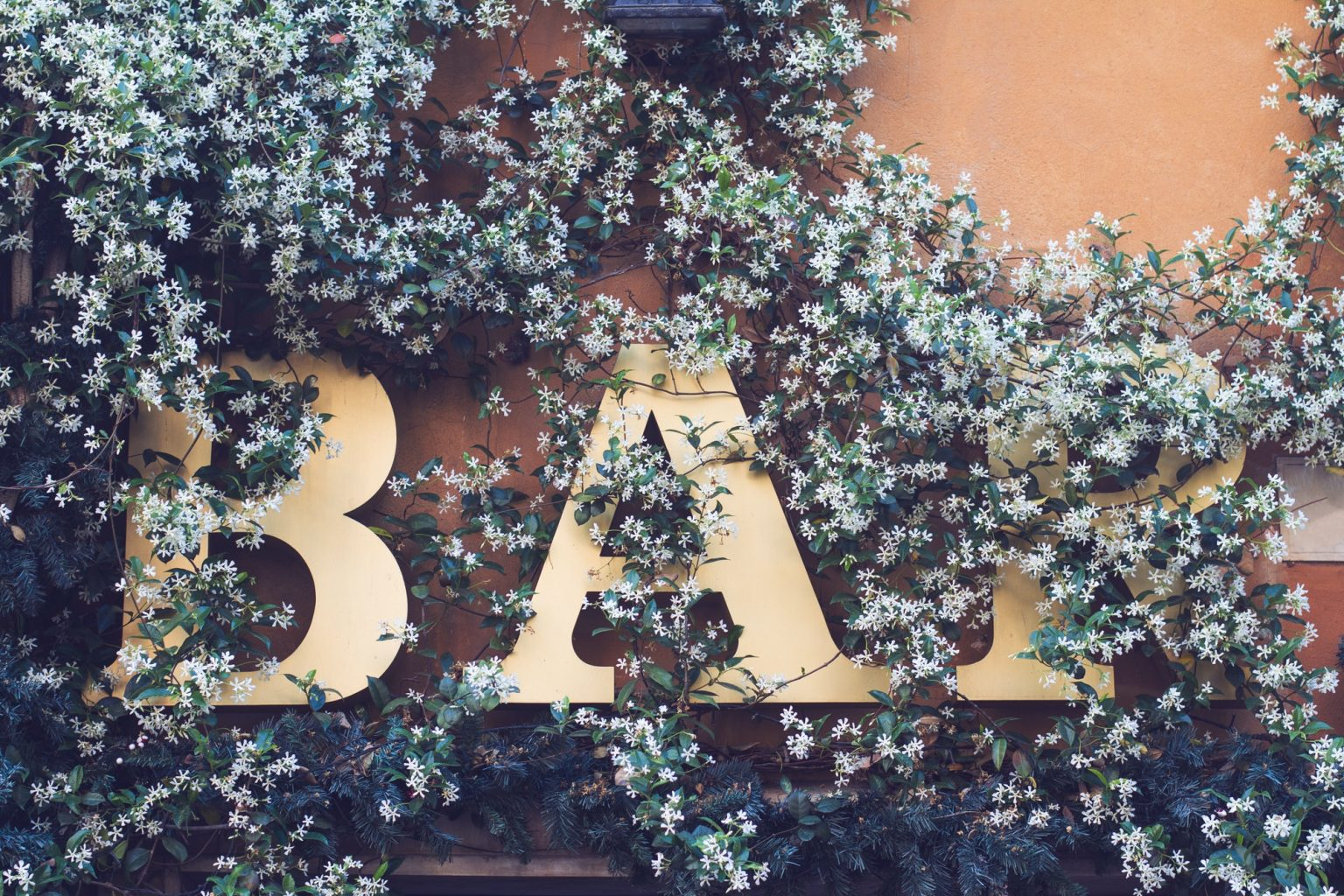 bar signage on a wall covered in flowers